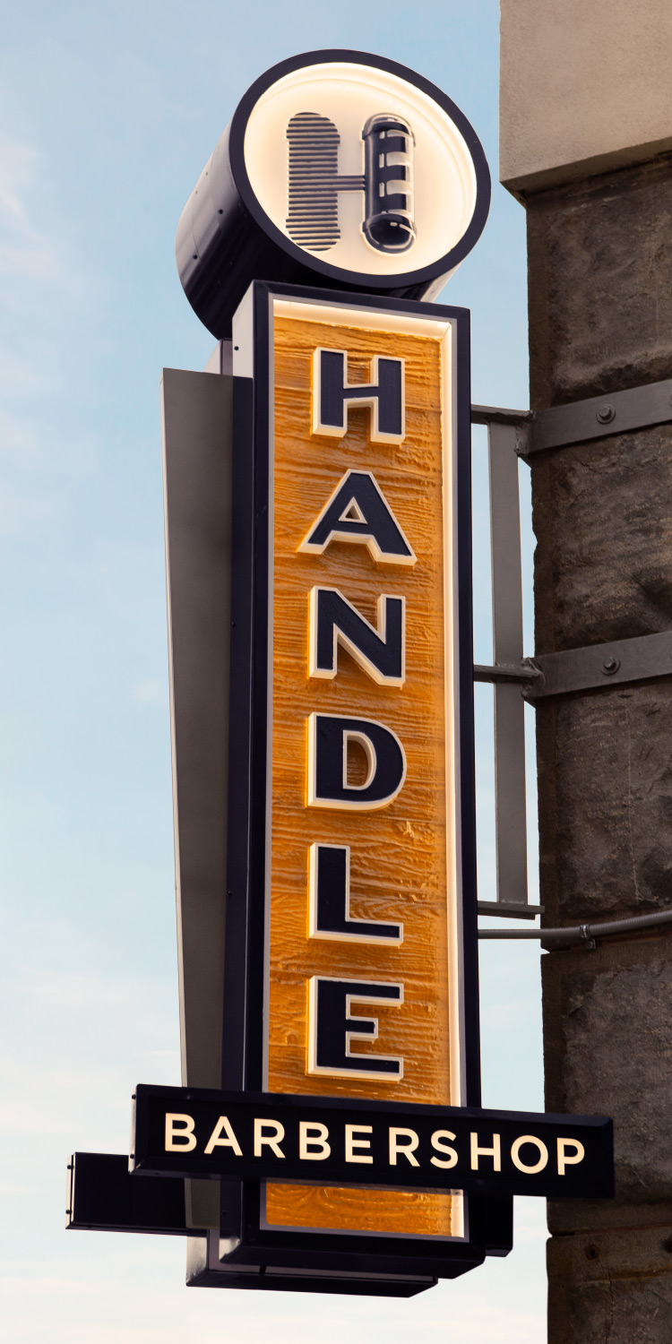 Handle Barbershop Outdoor Sign in Little Rock, Arkansas—by Hunter Oden of oden.house