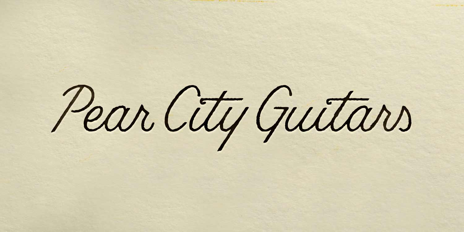 Pear City Guitars script signature logotype—by Hunter Oden of oden.house