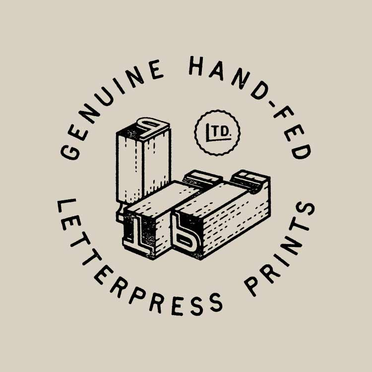 The Part-Time Press limited genuine hand-fed letterpress prints with metal type illustration—by Hunter Oden of oden.house
